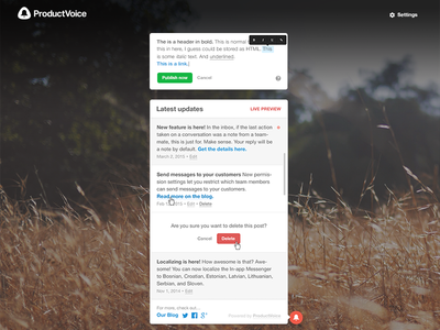 ProductVoice admin sketch feature widget sketch ux form update admin