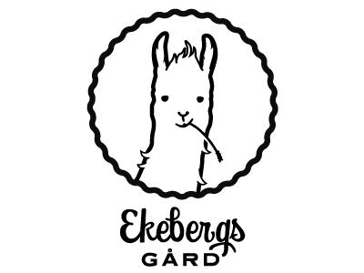 Sketch Alpaca Logo identity stamp farm symbol lama alpaca logo mark brand ekebergs gård