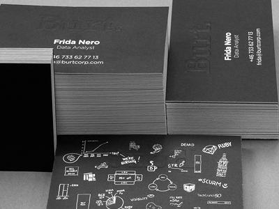 Burt business cards business card black dark burt burtcorp cards brand identity
