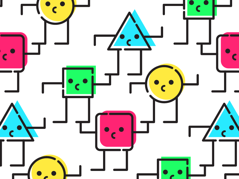 Shapes Of Friends cute patterns illustrator people branding illustrations faces icons color shapes friends