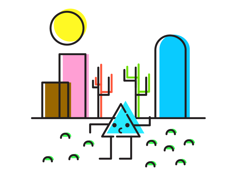 Blue's Wasteland sun west cute characters brand animation illustrator colors icons