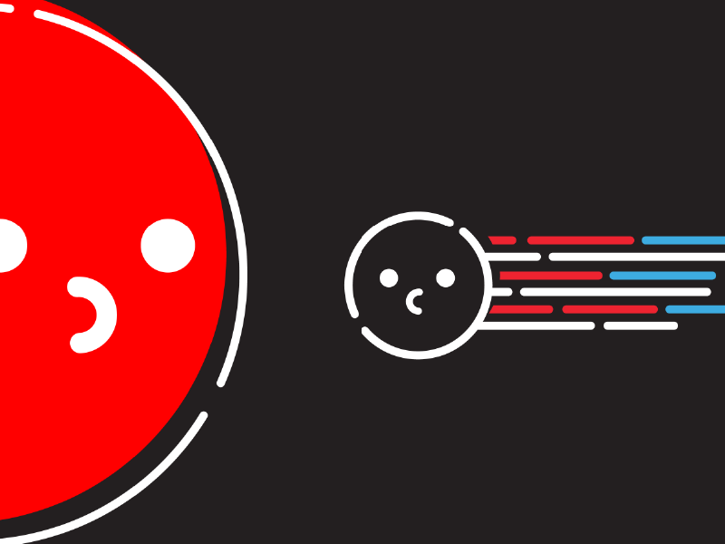 Red Giant planets space science happy cute characters brand animation illustrator colors icons