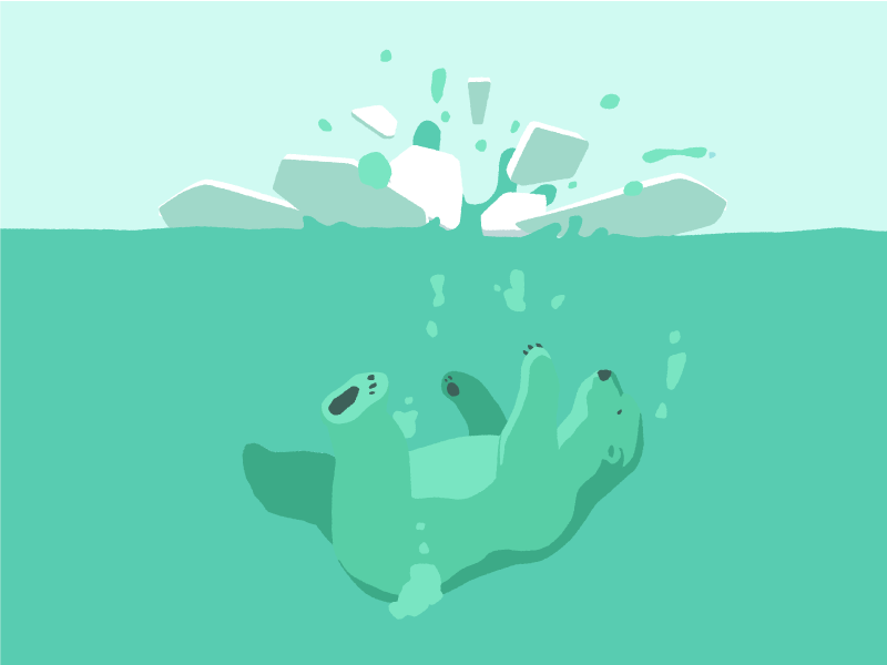 Ice Breaker polarbear water vector illustration