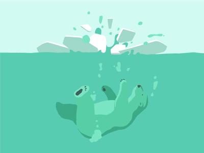 Ice Breaker polarbear water vector illustration