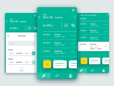 Task Tracking App Concept mobile app green ui