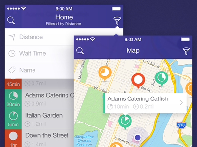 Map & List Screen  app ui iphone app ui design ui design