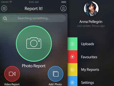 Report It! & Profile ui app ui ios app iphone app profile report