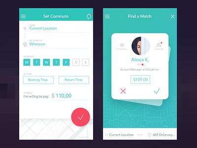Commute & Match Card ui clean location app commute