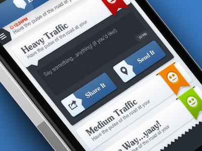 iOS App UI app ui iphone app ui design ui design ribbon apple bt buddy traffic buddytraffic