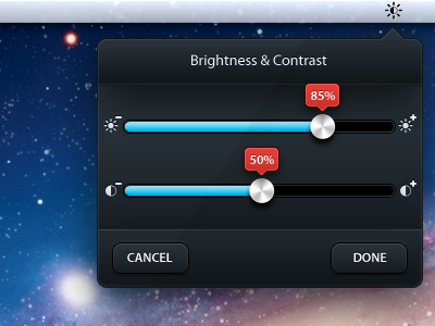 Brightness/Contrast - Tooltip ui ui design app apple tooltip mac