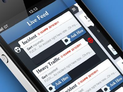 iOS App UI ui design design ui iphone app app ui live feed buddy traffic bt