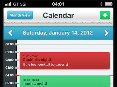 Calendar UI ui app ui ios app iphone app calendar red green