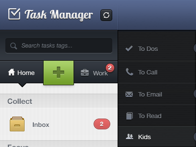 Task Manager UI - Web App web app ui