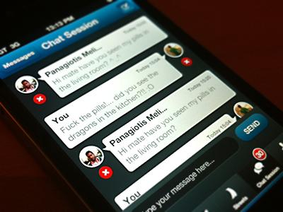 """BT"" Chat Screen chat ui iphone app app buddytraffic buddy traffic message profile"