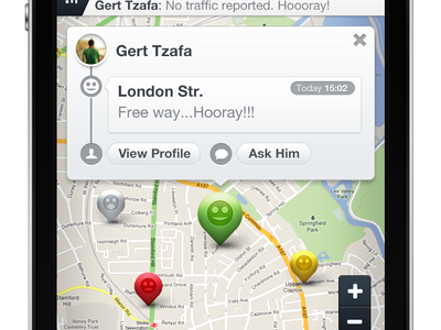 """BT"" Map Screen buddy traffic buddytraffic bt ui design iphone app ui app"