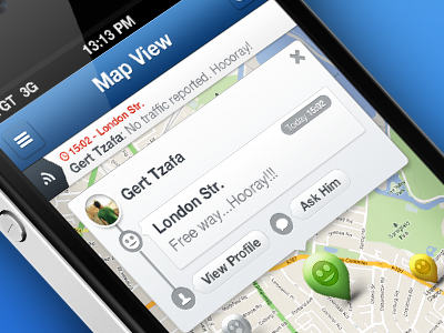 """BT"" Map Screen buddy traffic buddytraffic bt ui design iphone app ui app"