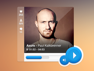 ♫ Mini-Music Player ♫ (psd included) music player ui ui design player music minimal techno