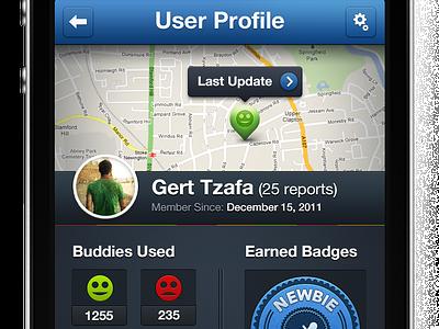"""BT"" Profile Screen app ui iphone app ui design ui design buddy traffic bt"