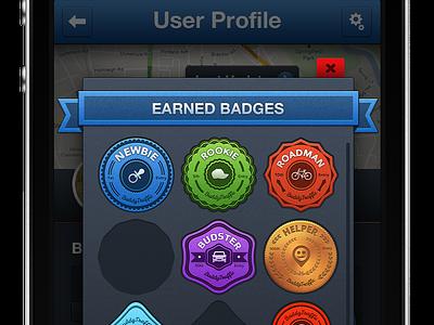 """""""BT"""" Badges Screen badges ui ux uiux ui design map ui ios app"""