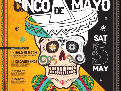 Cinco de Mayo Poster  cinco de mayo cactus chili chilli cinco flyer food happy holiday mayo mexican party poster shape skull sombrero vector