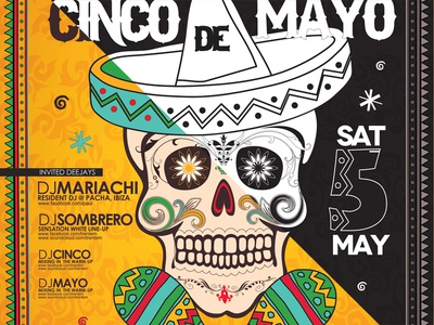 Cinco de Mayo Poster  cinco de mayo cactus chili chilli cinco flyer food happy holiday mayo mexican party poster shape skull sombrero vector