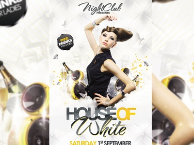 House of White Flyer white party white party flyer best birthday champagne clean club colorful deluxe discoball electro elegant fashion flyer funky glamorous flyer house lights night party poster professional purple sizes spring summer tehno vip white yellow