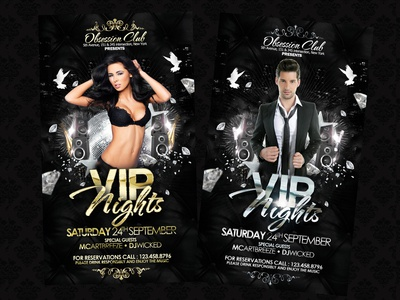 VIP Nights Party Flyer bloom brilliance class clean deluxe elegant flyer glamour glare gloss glow gold gold party luxe luxury party photoshop radiance rich sheen shimmer shine silver silver party template vip vip party