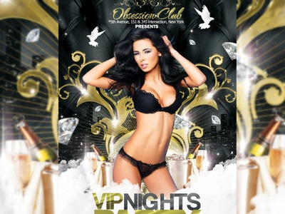 VIP Nights Party Flyer 2 bloom brilliance class clean deluxe elegant flyer glamour glare gloss glow gold gold party luxe luxury party photoshop radiance rich sheen shimmer shine silver silver party template vip vip party