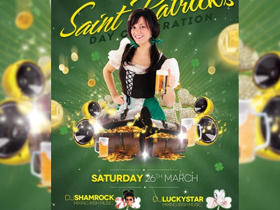 St. Patricks Flyer bar barmaid beer celebration charm club day flyer gold green greenish hat irish leprechaun lucky march money patrick patricks pattrick pattricks pub saint shamrock st patricks day template trefoil yellow