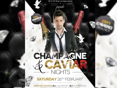 Champagne and Caviar Flyer Template bloom brilliance class clean deluxe elegant flyer glamour glare gloss glow gold gold party luxe luxury party photoshop radiance rich sheen shimmer shine silver silver party template vip vip party