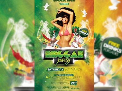 Reggae Party afro band club concert event festival flyer green grunge hookah indie jamaica jamaica party jamaican marijuana music party poster rasta rasta party red reggae reggae party roots smoke vintage weed yellow