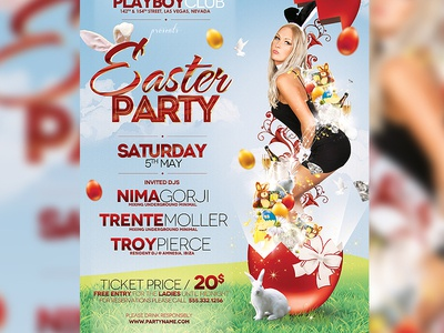 Easter Party Poster bunny bunny girl celebration colorful deluxe easter easter flyer easter flyer template easter party easter poster flyer fresh friday girl glam golden luxe model night club poster rabbit sexy sexy bunny sexy flyer vip