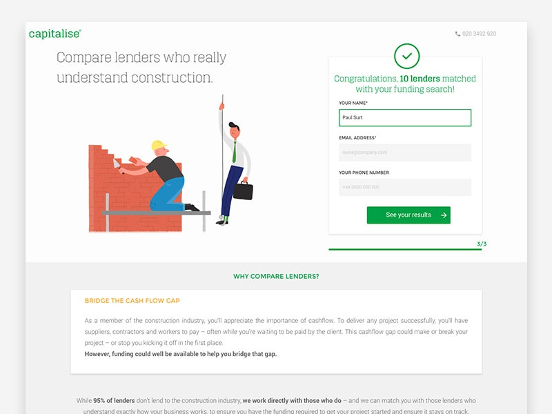 Capitalise construction landing page design desktop ui survey questionnaire illustration landing page construction capitalise