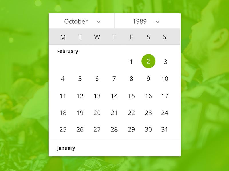 Responsive Date Picker inspired material ui year month cal calendar responsive picker date