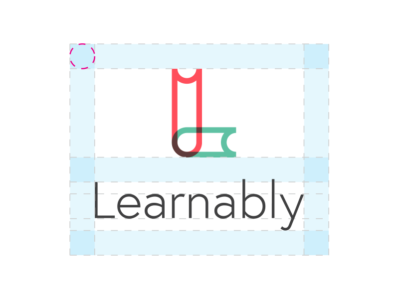 Learnably logo spacing book spacing safe space design typography l learn learnably learning identity logo