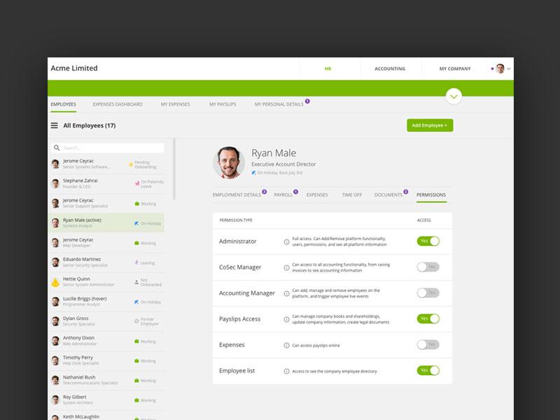 User Permissions ui list switch left side menu platform settings permissions user