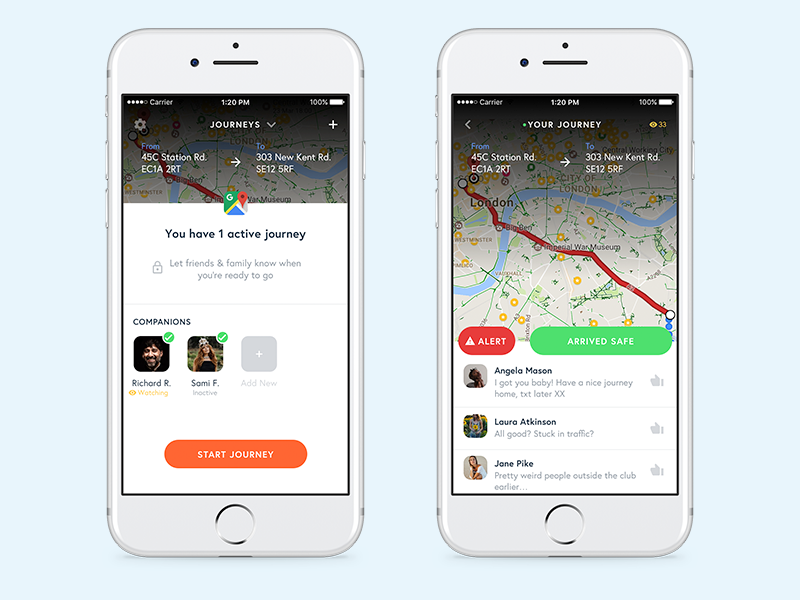 Safety app exercise chat live safe travel trip start alert ios mobile app companion safety