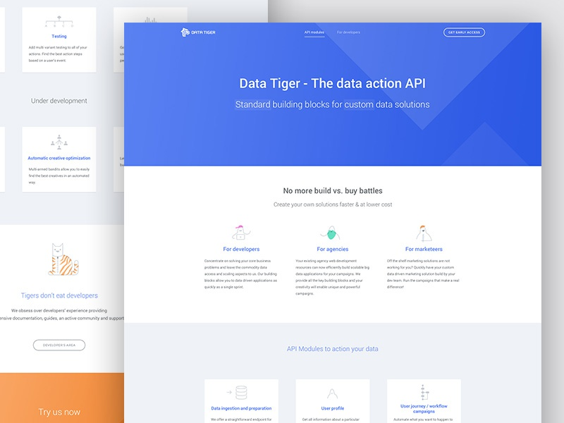 Data Tiger home page big data data illustration ux ui desktop web page landing home page