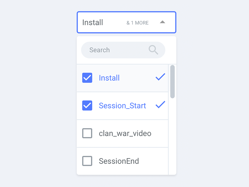 Multi-select dropdown menu with search component gui scrollable ux ui checkbox check search dropdown multi-select select multi