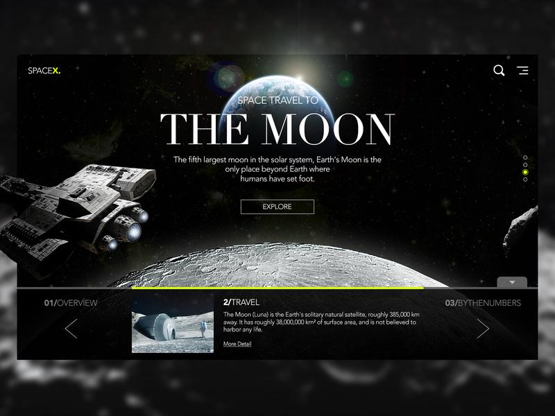 Travel To The Moon spaceship moon landing ux desktop ui ui header header exploration space travel space moon travel moon