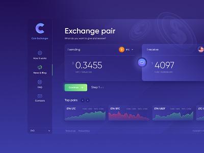 Interface Web Design Coin Exchanger ico money coins exchanger dashboard wallet ux  ui cryptocurrencies bitcoin web design illustration ux