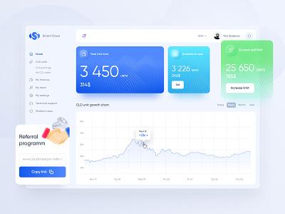 UI/UX Design Dasboard - investment finance company blue design webdesign uiux dasboard coin blockchain cryptocurrency wallet