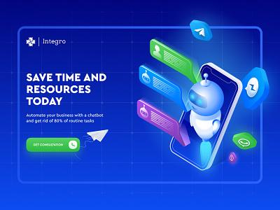 Inergo - chat bot development blender 3d isometric webdesign uxui chatbot