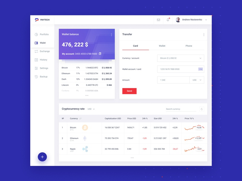 Paytech - wallet dashboard ico cryptocurrencies web design ux cryptocurrency dashboard bitcoin