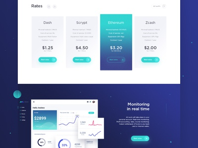 Landing Page for cloud mining wallet ico ux  ui cryptocurrency dashboard cryptocurrencies bitcoin