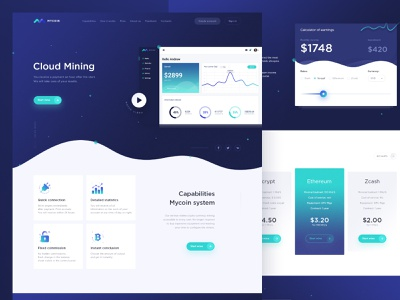 Landing Page for cloud mining money coin liquid wallet ux  ui dashboard cryptocurrency cryptocurrencies bitcoin ux