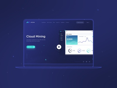 Landing Page for cloud mining ui block chain dashboard illustration wallet bitcoin ico ux  ui cryptocurrency cryptocurrencies