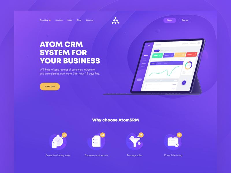 Atom CRM - promo site wallet vector landing page illustration dashboard ux  ui web design ux