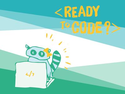 Ready To Code? girls illustration coding