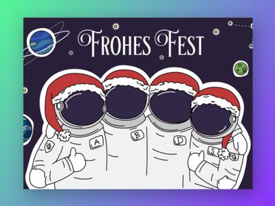 Christmas astronauts postcard illustration